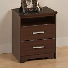 Prepac Coal Harbor 2 Drawer Tall Nightstand with Open Shelf - Espresso