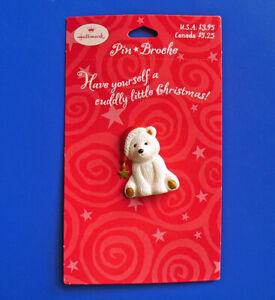 Hallmark PIN Christmas Vintage POLAR BEAR in Santa Hat Star Holiday Brooch NEW
