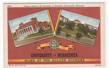 University Minnesota Campus Golden Gophers Minneapolis Mn linen postcard