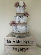 Personalised Rustic Vintage Wedding Cake Stand Wooden Crate Cake Stand Whitewash