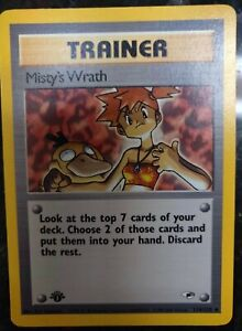 MISTY'S WRATH 114/132 Gym Heroes 1st EDITION non holo Pokemon card