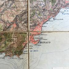 Carte couleur Provence - Côte d'Azur entoilée — Menton/Nice — 63 x 63 cm. — XIXe