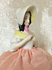 Small Pincushion Half Doll With Bonnet - Marked 6