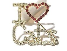 Contemporary Modern I Love Cats Pin Heart Red Clear Crystal Sparkly Great Gift