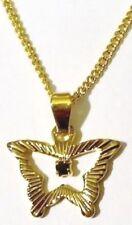 pendentif bijou vintage papillon gravé véritable saphir griffé couleur or * 5278
