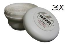 3x PRORASO Rasierseife Tiegel 150ml grüner Tee Sensible Haut beruhigend Weiß