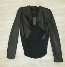 New! BCBGMAXAZRIA Leather Bolero with Drape Back in Black