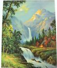 Vintage Lithograph Print Mountains Campfire Tent Camper Waterfall River Forest