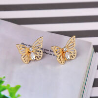 Earrings Clip On Golden Studs Insect Bug Butterfly Metal Chiseled Discreet J15