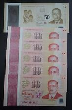 SINGAPORE Complete Set 2015 POLYMER SG50 Commemorative Banknote $10x5 & $50 UNC