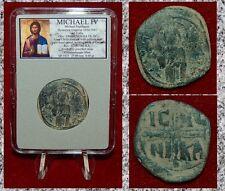 Ancient Byzantine Empire Coin Michael Iv Jesus Christ Holding Gospel Bronze