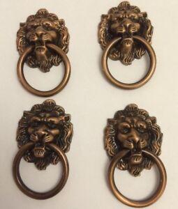 4 Copper Lion Head Handles,vintage Metal drawer Lion Knob,metal RingPulls Draw