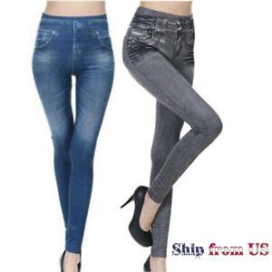 High Waist Denim Jean Faux Leggings  Stretch Pencil Jegging Pants Trousers US