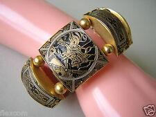 Breites gold-/schwarz farbenes Armband mit Toledo Muster 59,0 g/L:19,5 cm/B:3 cm