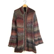 Prana Ombre Long Duster Chunky Knit Wool Blend Bell Sleeve Cardigan Sweater M