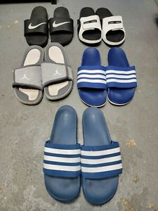 Lot (5) Pre-Owned Slides Sandals Nike Jordan Adidas Men blu Wht Blk Sz US 12 13