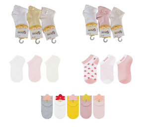 Baby Girls Toddlers 3 Pack Ankle Socks Trainer Socks Cotton Sizes 0-36 Months