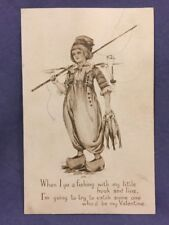 Dutch boy fisherman Valentine's Day postcard