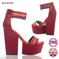 CHUNKY RED HEEL PLATFORM SANDALS LADIES HIGH STRAPPY SHOES WEDGE WOMENS OPEN TOE