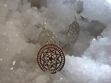Silver Tone Sacred Geometry Mandala Pendant Earring Set Jewellery