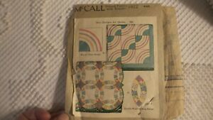 Antique MCCALL PATTERN #1922 Quilt Designs Double Wedding Ring,Chain Design