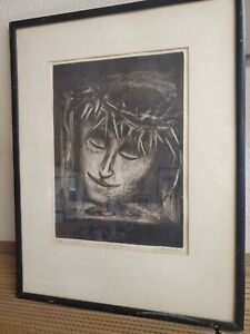 """Vintage 1965 """"Crown of Thorns"""" etching in pencil collectable DARK INTRIGUING"""
