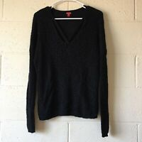 Womens Guess Black Long Sleeve Pullover Strappy Criss Cross Sweater Size Large