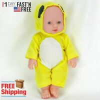12in Baby Dolls Handmade Full Silicone Real Newborn Girl Doll Reborn Toy Yellow