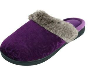 ISOTONER Women's Patterned Velour Clog Slippers Majestic Purple Sturdy Sole