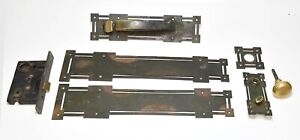 VINTAGE COMPLETE PENN ARTS AND CRAFTS FRONT DOOR THUMB HANDLE HARDWARE SET