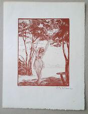 P E VIBERT Gravure sur bois art deco portrait de jeune femme danseuse danse