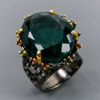 Fluorite Ring Silver 925 Sterling Handmade jewelry gemstone Size 8.5 /R146915