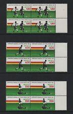 MEXICO 1982 WORLD CUP FOOTBALL CHAMPS, SPAIN - MARGINAL BLOCKS OF 4 *VF MNH*