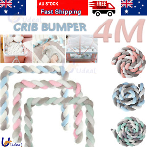 4M Kid Cot Bumper Braid Pillow Nursery Bed Crib Bedding Padded Protector 3 color