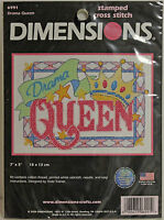 """DIMENSIONS Stamped Cross Stitch Kit #6991 DRAMA QUEEN  7"""" x 5"""" NEW"""
