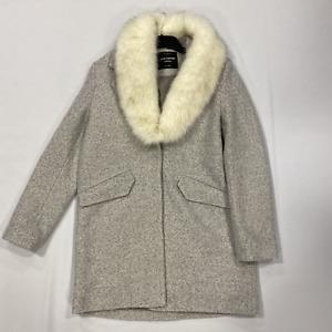Jane Norman Grey Detachable Fur Boucle Coat Ladies Size UK 14 *REF135