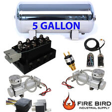 Air Ride Compressor Package Dual Voltairmaxx DC480 5 Gallon Storage Tank 7ac xzx