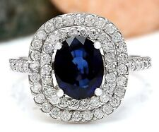 3.44 Carat Natural Sapphire 14K Solid White Gold Luxury Diamond Ring