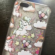 For iPhone 7 / 8 - HARD CASE Flowing Waterfall CUTE UNICORN Liquid Glitter Stars