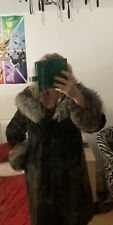 Stunning Real Full Piece Mink Coat With Silver Fox Hood And Cuffs Brand New