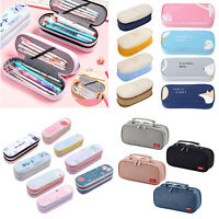 Canvas Pencil Case Double Layer Stationery Pen Box Student School Pencil Cases