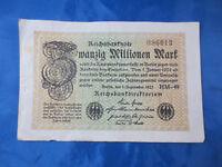 Geldschein Reichsbanknote Zwanzig Millionen Mark 'HM-49' Berlin 1923