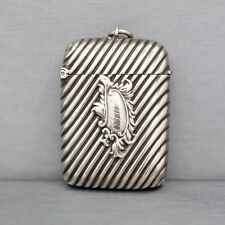 Antique English Engraved Match Safe Vesta Pendant in Sterling Silver
