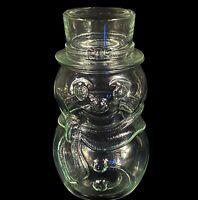 "Vintage Libbey Glass Canada Clear Snowman Decor Candy Jar w/ Top Hat Lid 7.5""H"