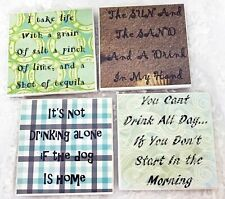 Set of  4 Ceramic Coasters with Funny Drinking Graphics and Cork Backing
