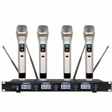 4X100 Channels UHF Professional Wireless Cordless Karaoke Microphone mic System