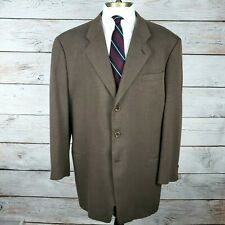 Armani Collezioni US 48L Long Brown Wool + Cashmere 3 Button Sport Coat Jacket
