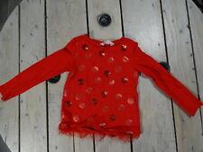 Magnifique t-shirt rouge manches longues imprimé paillettes H&M Taille 2/4 ans