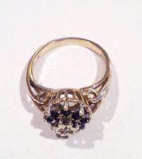 9 CT Oro Zafiro Y Diamantes Anillo de clúster de Corona. R098