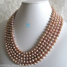 """Long 100"""" 6-8mm Lavender Freshwater Pearl Necklace Natural Color"""